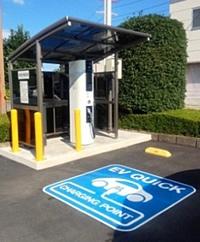 市役所に電気自動車用急速充電器を設置しています