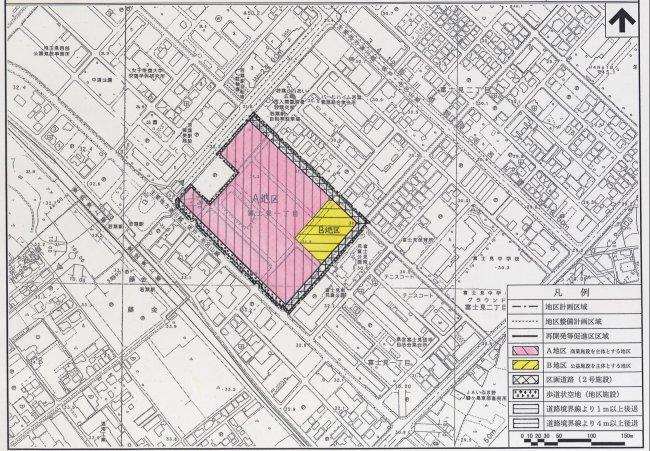 『若葉駅前富士見地区地区計画 地区整備計画図』の画像