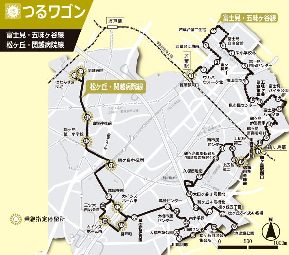 『富士見・五味ケ谷線 松ヶ丘・関越病院線路線図』の画像