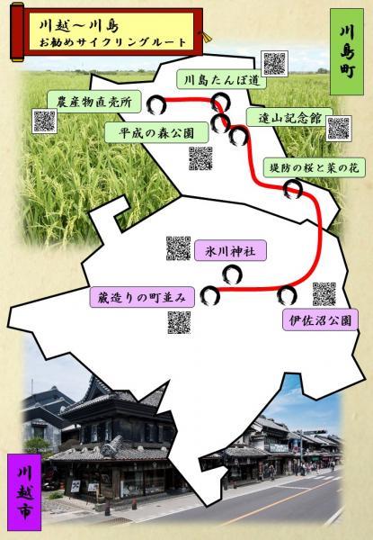 『(修正後)広域観光ルート(川越~川島お勧めサイクリングルート・表)』の画像